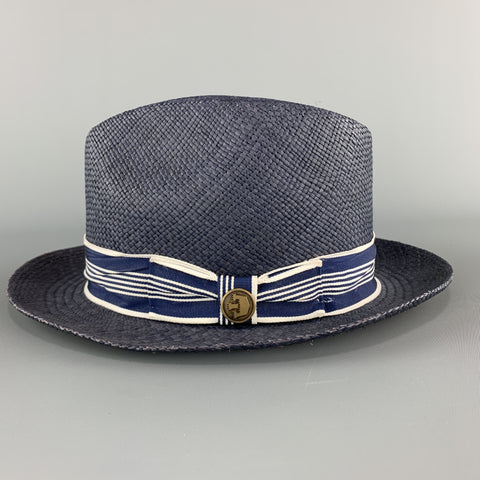 GOORIN BROTHERS Size S Navy Straw Woven Stripe Fedora