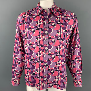 PAUL SMITH Size XXL Purple Print Cotton Button Up Long Sleeve Shirt