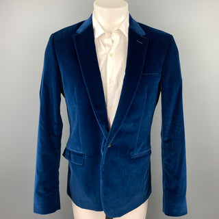 CALVIN KLEIN COLLECTION Size 40 Royal Blue Velvet Notch Lapel Sport Coat