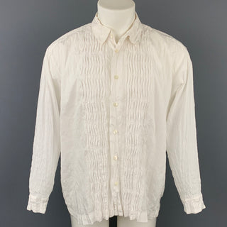 ISSEY MIYAKE Size M White Wrinkled Polyester / Cotton Long Sleeve Shirt