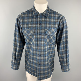 PENDLETON Size S Navy & Gray Plaid Virgin Wool Button Up Long Sleeve Shirt