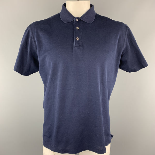 RALPH LAUREN Size L Navy Solid Cotton Buttoned Polo