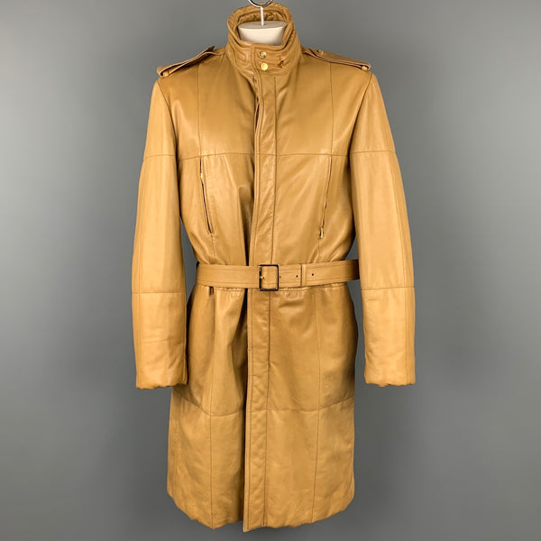 GUCCI by TOM FORD Size 44 Tan Quilted Leather Belted Hooded Coat