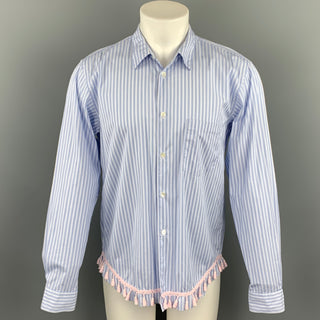 COMME des GARCONS HOMME PLUS Size M Blue Stripe Cotton Fringe Trim Long Sleeve Shirt
