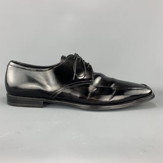 PRADA Size 12.5 Black Leather Apron Toe Lace Up