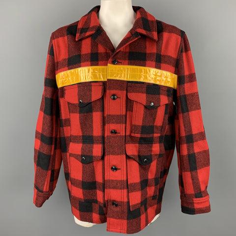 JUNYA WATANABE x FILSON Size XXL Red & Black Buffalo Plaid Wool Jacket