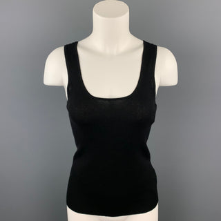 TSE Size S Black Knitted Ribbed Cashmere / Silk Tank Top