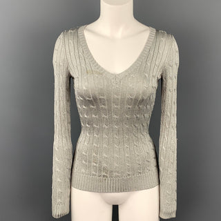 RALPH LAUREN Black Label Size XS Silver Silk Blend Pullover Sweater