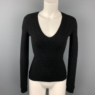 RALPH LAUREN Black Label Size S Black Knitted Cashmere V-Neck Pullover