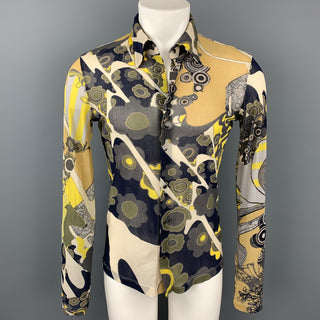 JUST CAVALLI Size S Multi-Color Print Polyamide Snaps Long Sleeve Shirt