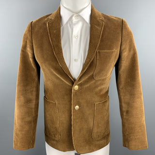 MAISON KITSUNE Size 36 Light Brown Corduroy Notch Lapel Brass Button Blazer
