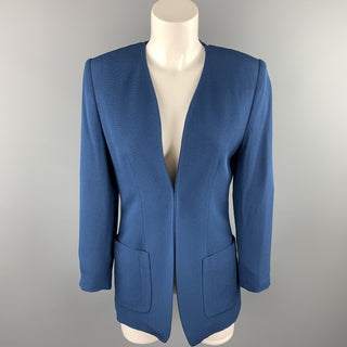 ROSANNA MANZONI Size 6 Blue Twill Silk Open Front Collarless Jacket
