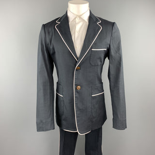 VIVIENNE WESTWOOD MAN Size 40 Charcoal Ramie Blend Notch Lapel Suit