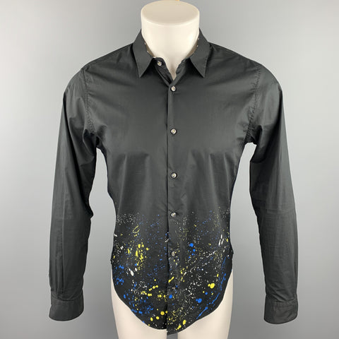 GUILD PRIME Size S Black Splattered Cotton Button Up Long Sleeve Shirt