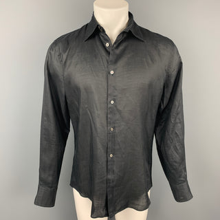 JIL SANDER Size M Black Ramie Button Up Long Sleeve Shirt