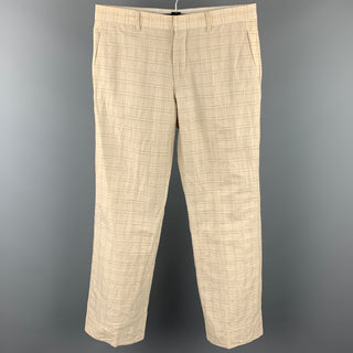 VIKTOR & ROLF Size 34 Beige Plaid Linen Blend Casual Pants