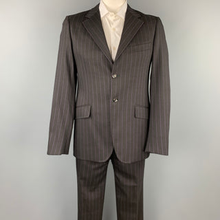 MOSCHINO Size 42 Regular Black Stripe Wool Blend Notch Lapel Suit