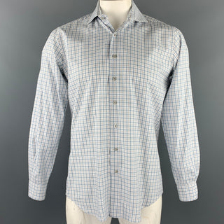 PAUL STUART Size M White & Teal Plaid Cotton Button Up Long Sleeve Shirt