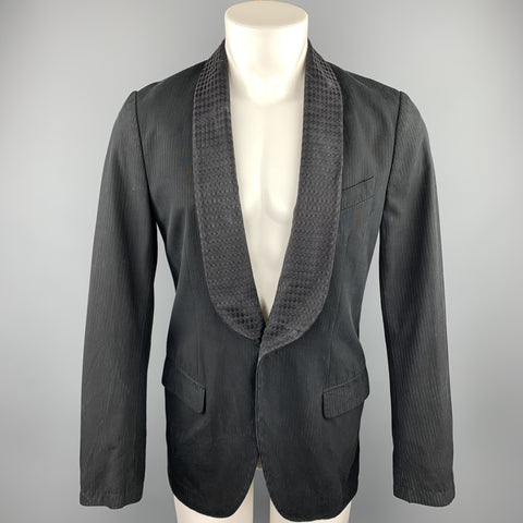 DRIES VAN NOTEN Size 36 Black on Black Stripe Cotton / Rayon Sport Coat