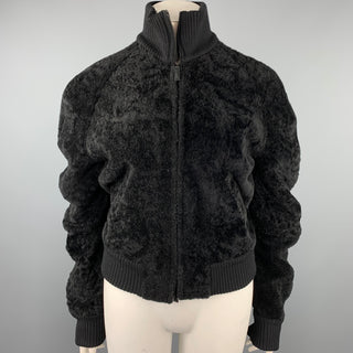 CALVIN KLEIN Size 8 Black Textured Shearling Zip Up Jacket