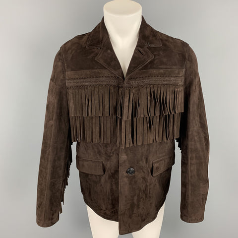 BURBERRY PRORSUM Fall 2014 Size 36 Brown Suede Fringe Buttoned Jacket