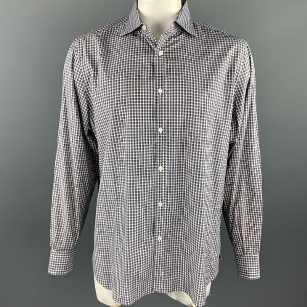 ISAIA Size XL Dark Gray Window Pane Cotton Button Up Long Sleeve Shirt