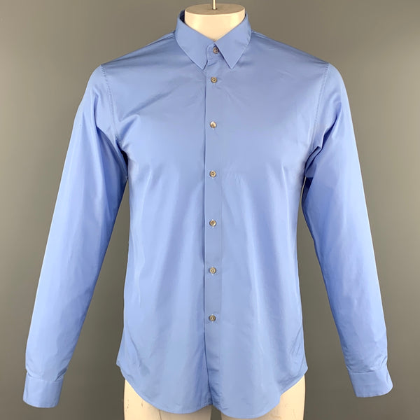 JIL SANDER Size L Blue Cotton Button Up Long Sleeve Shirt