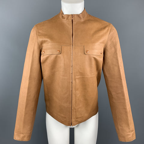 MIU MIU Size S Tan Textured Leather High Collar FLap Pocket Jacket