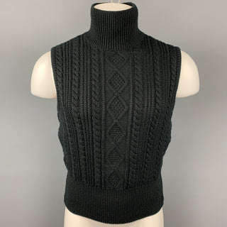 Vintage JUNIOR GAULTIER Size M Black Knitted Wool / Acrylic Turtleneck Vest