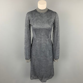 CALVIN KLEIN COLLECTION Size 4 Grey Lace Modal Blend Sheath Dress