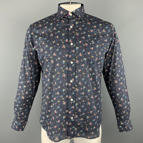 HARTFORD Size M Navy & Burgundy Floral Cotton Button Up Long Sleeve Shirt
