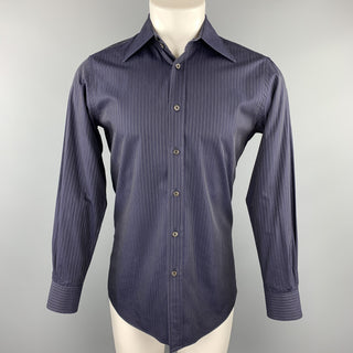 PRADA Size S Navy Stripe Cotton Button Up Long Sleeve Shirt