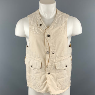 ENGINEERED GARMENTS M Off White Solid Cotton Vest