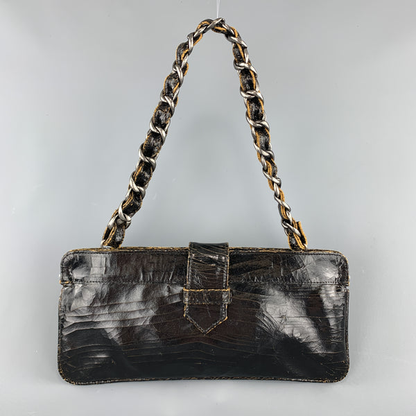 MARC MARMEL Distressed Black Coated Leather Shain Strap Handbag
