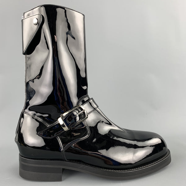 PAUL SMITH Size 9 Black Patent Leather Biker Boots