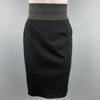 AKRIS Size 6 Black Stretch Elastic Waistband Pencil Skirt