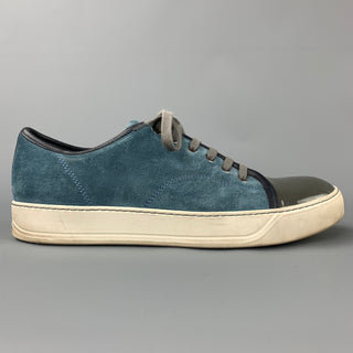 LANVIN en BLEU Size 9 Blue Leather Lace Up Sneakers