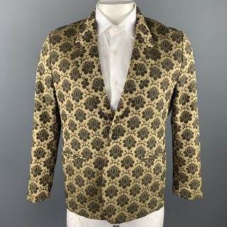 SASQUATCHfabrix Size XL Gold & Brown Floral Polyester / Cotton Sport Coat