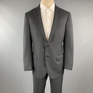 ERMENEGILDO ZEGNA Black Stripe Wool Notch Lapel 34 x 30 Suit