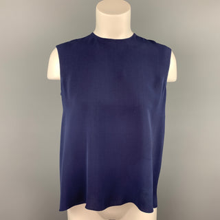 CAROLINA HERRERA Size 4 Navy Silk Asymmetrical Sleeveless Blouse