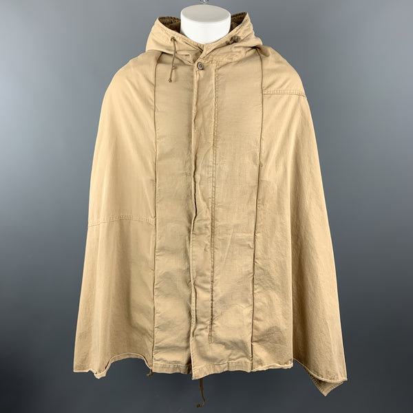 THE DRESS & CO. Size 42 Khaki Cotton Hooded Drawstring Cape Jacket