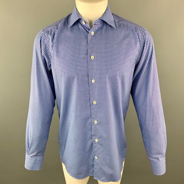 ETON Size S Blue & Purple Checkered Cotton Button Up Long Sleeve Shirt