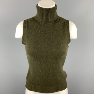 RALPH LAUREN COLLECTION Size S Olive Knitted Cashmere Sleeveless Turtleneck Pullover