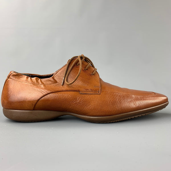 PAUL SMITH Size 9 Tan Suede Square Toe Lace Up Shoes