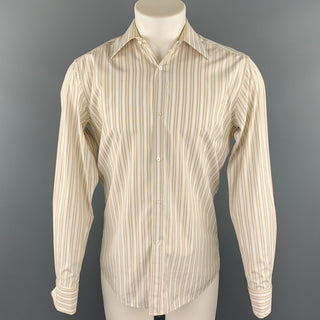 GUCCI Size M Beige Stripe Cotton French Cuff Long Sleeve Shirt