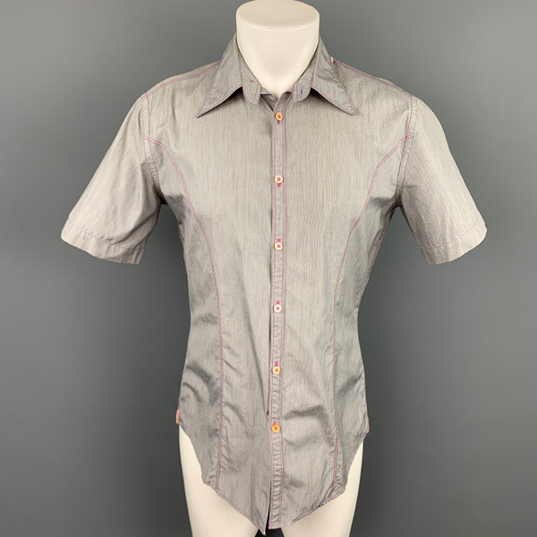 PAUL SMITH Size M Grey Stripe Cotton Short Sleeve Shirt