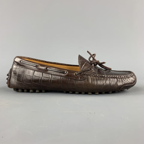 COLE HAAN Size 9 D Brown Embossed Leather Driver Loafers