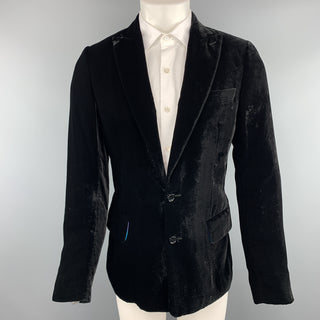 D&G by DOLCE & GABBANA Size 38 Black Velvet Peak Lapel  Sport Coat