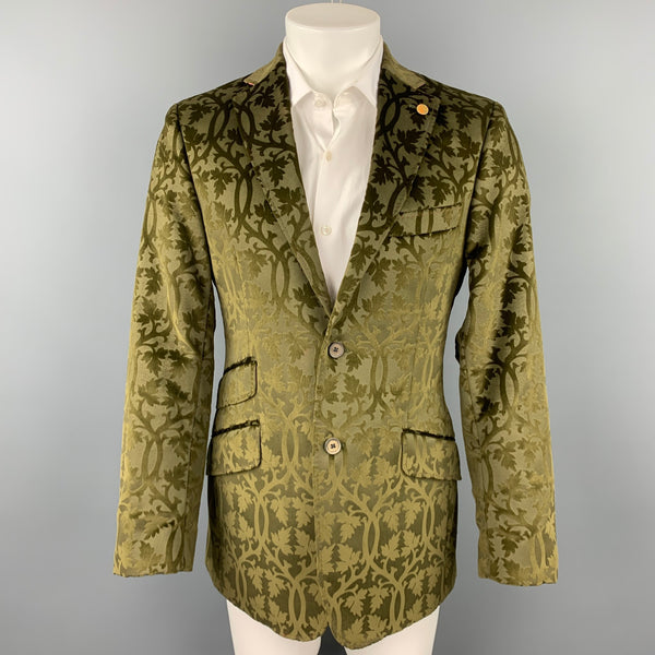 TED BAKER Size 38 Regular Olive Jacquard Cotton Velvet Notch Lapel Sport Coat