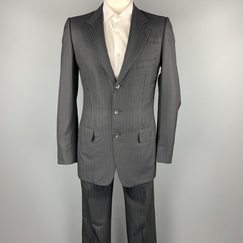 GUCCI 40 Long Black Stripe Wool / Silk Notch Lapel Suit